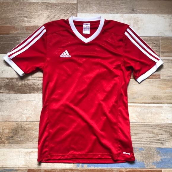Adidas red climalite t shirt v neck